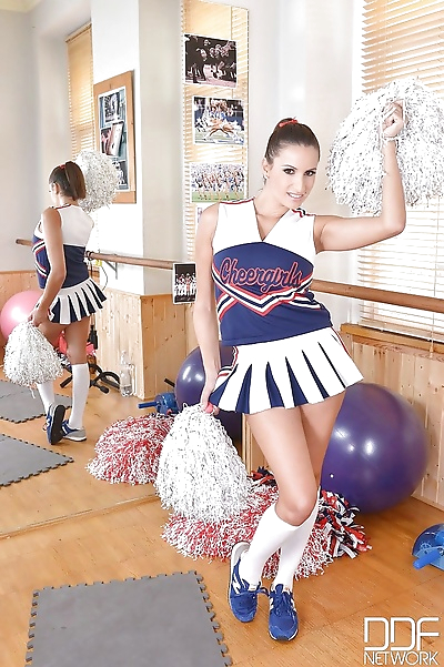 Busty young cheerleader..