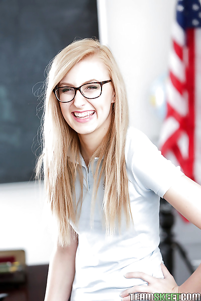 Young blonde nerd in glasses..