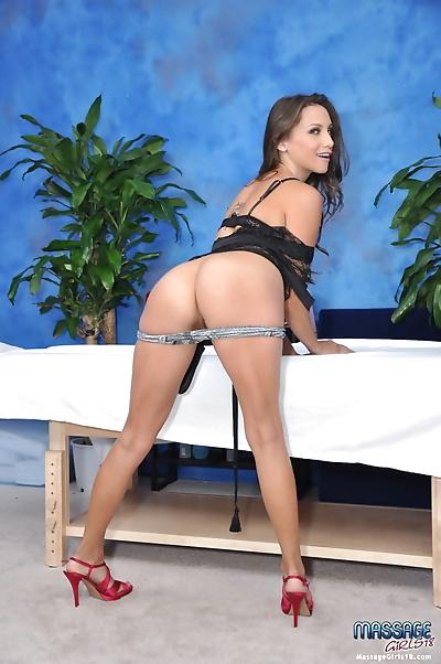 Sexy brunette massage..