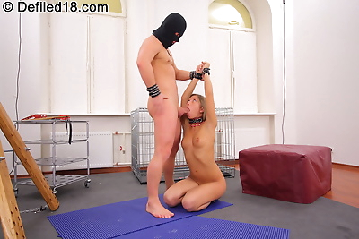 Teen is shackled and fucked..
