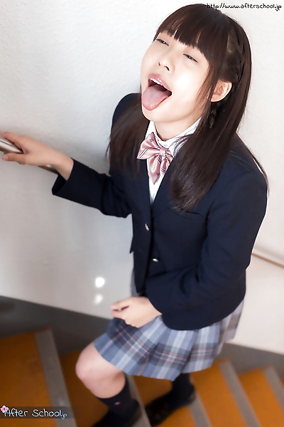 Japanese schoolgirl swallows..