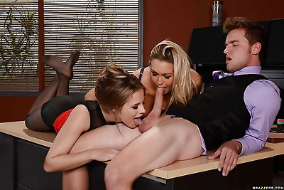 Busty office babes suck big..